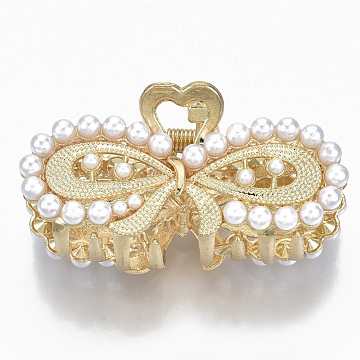Alloy Claw Hair Clips, with ABS Plastic Imitation Pearl, Long-Lasting Plated, Textured, Bowknot with Heart, Light Gold, White, 26x53x26mm(PHAR-N004-018)