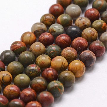 Natural Picasso Stone/Picasso Jasper Bead Strands, Round, 6mm, Hole: 1mm; about 68pcs/strand, 15inches(G-G735-14-6mm)