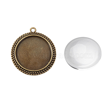 Pendant Making Sets, with Alloy Pendant Cabochon Settings and Glass Cabochons, Flat Round, Nickel Free, Antique Bronze, Tray: 30mm,43x38x2mm, Hole: 3mm, 29.5~30x7mm(DIY-X0289-019AB-NF)