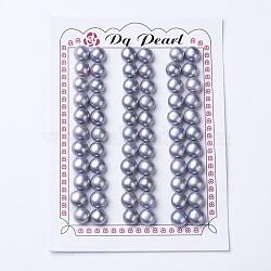 естественный культурный жемчуг пресноводных, половине просверлил, вокруг, slateblue, 8~8.5x5.5~6 mm, отверстия: 1 mm(PEAR-I004C-01)