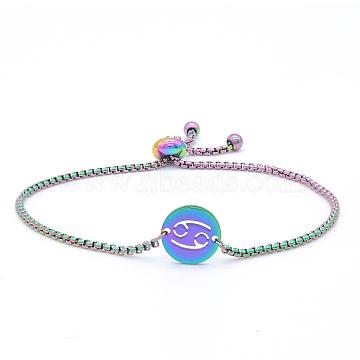 """Bracelets réglables en 201 acier inoxydable, bracelets bolo, avec des chaînes de boîte, plat rond avec constellation / signe du zodiaque, cancer, 9-1/2"""" (24 cm)(STAS-S105-JN664-4)"""
