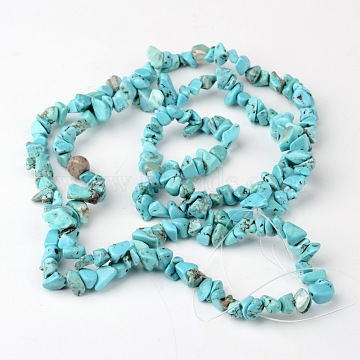 Dyed Natural White Jade Chip Beads, Imitation Green Turquoise, 4~10x4~6x2~4mm, Hole: 1mm; about 320pcs/strand, 35.4 inches(X-G-R192-06)