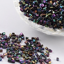 11/0 Two Cut Glass Seed Beads, Hexagon, Colorful, Size: about 2.2mm in diameter; about 4500pcs/50g(X-CSDB703)