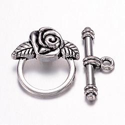 Genouillères de style tibétain pour la fabrication de bijoux pour la Saint-Valentin, sans plomb et sans cadmium et sans nickel, argent antique, taille: fleur: 18mm de large, Longueur 19mm, bar: 4mm, Longueur 24mm, Trou: 2mm(X-LF0026Y-NF)