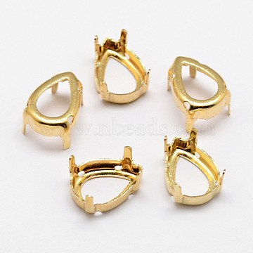 Flat Teardrop Brass Rhinestone Claw Settings, Open Back Settings, Within the Error Range of 1mm, Golden, 14x10x0.4mm; Fit for 10x14mm cabochons; about 400pcs/bag(KK-N0084-02G-10x14)