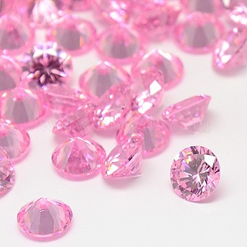 Diamond Shape Grade A Cubic Zirconia Cabochons, Faceted, Pearl Pink, 2mm(ZIRC-M002-2mm-005)