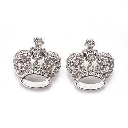 Pendentifs en strass, avec les accessoires en alliage, couronne, platine, cristal, 31x29x10mm, Trou: 3mm(X-RSB453-1)