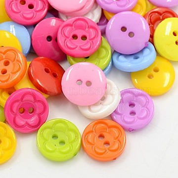 Acrylic Sewing Buttons for Clothes Design, Plastic Buttons, 2-Hole, Dyed, Flat Round with Flower Pattern, Mixed Color, 12.5x3mm, Hole: 1mm(X-BUTT-E083-F-M)