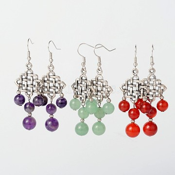 Dangling Tibetan Style Alloy Natural & Synthetic Mixed Stone Chandelier Earrings, with Brass Earring Hooks, Mixed Color, 65mm, Pin: 0.7mm(EJEW-JE01564)