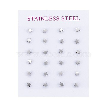 304 Stainless Steel Stud Earrings, Star, Stainless Steel Color, 4x4x1mm, Pin: 0.8mm(X-EJEW-F163-03P)