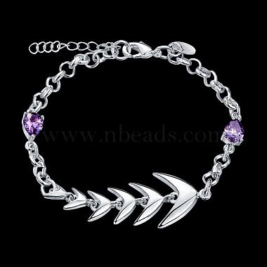 Brass Fishbone Link Bracelets(BJEW-BB17088)-2