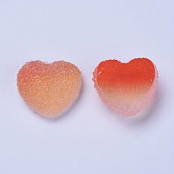 cabochons de résine, deux tons, cœur, corail, 15~15.5x16.5~17x7 mm(RESI-TAC0002-02C)