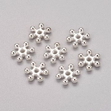 Zinc Alloy Beads Spacers, Cadmium Free & Lead Free, with One Hole, Snowflake, Silver Color Plated, 10x2.5mm, Hole: 1.5mm; about 46pcs/20g(Y-PALLOY-Q063-S)