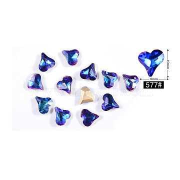 Accessoires de décoration de strass d'art d'ongle, cœur, saphir, 10x8mm(MRMJ-P002-11-577)