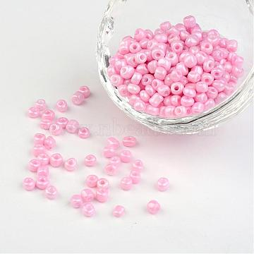 6 0 Opaque Colours Round Glass Seed Beads Pink 4mm Hole 1 5mm About 495pcs 50g