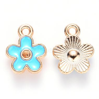 Light Gold SkyBlue Flower Alloy+Enamel Charms