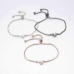 """Bracelets bolo extensibles en laiton avec zircon cubique de micro pavé, Bracelets coulissants, avec des chaînes de boîte en laiton, étoiles et la lune, couleur mixte, 10-1/4"""" (260 mm); 1.2mm(BJEW-J180-19)"""