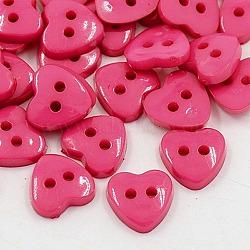 Boutons acryliques de cœur , boutons de couture en plastique pour la conception de costumes, 2-trou, teint, rose foncé, 12x12x3mm, Trou: 1mm(X-BUTT-E071-A-06)