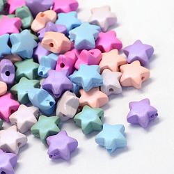 Perles en acrylique opaque de style caoutchouté, étoiles, couleur mixte, 11x11.5x6mm, trou: 2 mm; environ 1300 pcs / 500 g(MACR-S803-M)