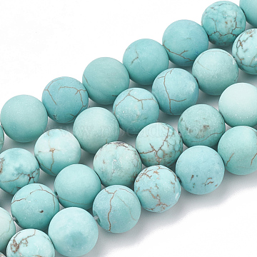 Natural Green Turquoise Beads Strands, Frosted, Round, 6mm, Hole: 1mm; about 63pcs/strand, 15.5 inches(X-G-T106-184)