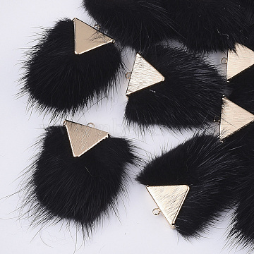 Faux Mink Fur Tassel Pendant Decorations, with Brass Findings, Light Gold, Black, 40~42x20~30x5.5~7mm, Hole: 2mm(X-FIND-S302-05K)