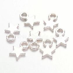 звезды прелести тибетский стиль, свинца, никеля и кадмия бесплатно, серебристый цвет, 10 mm длиной, 8 mm шириной, 2 mm, отверстия: 2.5 mm