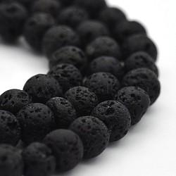 """Chapelets de perles rondes en lava naturelle, lave, 4mm, trou: 1mm; environ 94 pcs/chapelet, 15.7""""(G-M169-4mm-03)"""