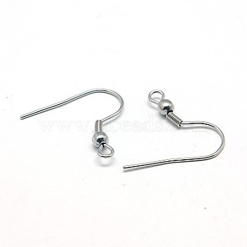316 Surgical Stainless Steel Earring Hooks, 20x19.5mm, Hole: 2mm, Pin: 0.7mm(X-STAS-E009-1)