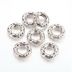 cadre de perle en plastique ccb, donut, argent antique, 29x6 mm, trou: 2 mm; diamètre intérieur: 15 mm(CCB-F012-03AS)