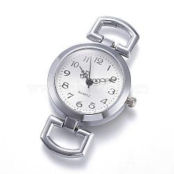 Alloy Watch Head Watch Components, Flat Round, Platinum, 49x29x9mm, Hole: 10x5.5mm(X-WACH-P005-01)