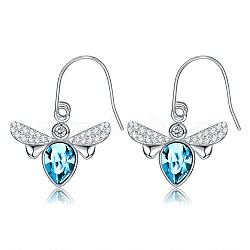 Brass Dangle Earrings, with Austrian Crystal, Bees, Platinum, 206_Sapphire(EJEW-BB35109)