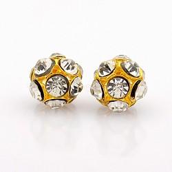 Perles de cristal strass de fer, rond et creux, or, 12mm, Trou: 2mm(RB-J489-01G)