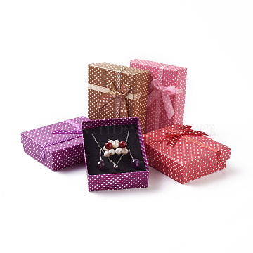 Mixed Color Rectangle Cardboard Jewelry Set Box