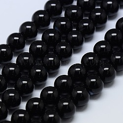 Natural Agate Round Beads Strand, Dyed, Black, 12mm, Hole: 1mm; about 32pcs/strand, 15.74inches