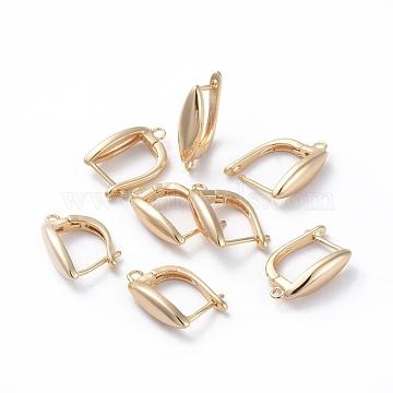 Accessoires de boucle d'oreilles en laiton, avec boucle, Plaqué longue durée, oeil de cheval, véritable plaqué or, 19x13x5mm, trou: 1.2 mm; broches: 0.8 mm(KK-L180-114G)