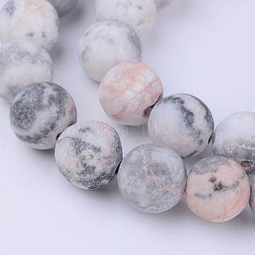 Natural Zebra Jasper Beads Strands, Frosted, Round, 8~8.5mm, Hole: 1mm; about 47pcs/strand, 15.5 inches(X-G-Q462-8mm-03)