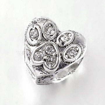 Antique Silver Tone Alloy Rhinestone European Beads, Heart Large Hole Beads, Crystal, 9.5x10.5x9mm, Hole: 5mm(X-CPDL-E030-01AS)