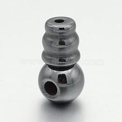 Non-magnétiques synthétiques hématite 3 perles trou gourou, perles t-percées, noir, 15x8mm, Trou: 1.7mm(G-P046-19A)