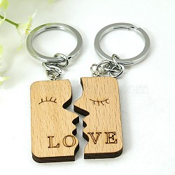 Romantic Gifts Ideas for Valentines Day Wood Hers & His Keychain, with Iron Findings, Rectangle, Camel, 99mm(X-KEYC-E006-20)