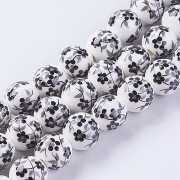 12mm Black Round Porcelain Beads