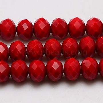 Imitation Jade Glass Bead Strands, Faceted, Rondelle, Crimson, 4x3mm, Hole: 1mm, about 138pcs/strand, 16.5 inches(X-GLAA-F001-4x3mm-18)