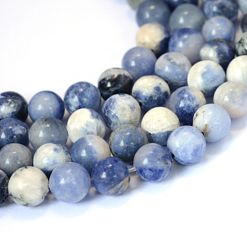 Natural Sodalite Round Bead Strands, 10~10.5mm, Hole: 1.2mm, about 36pcs/strand, 15.5 inches(X-G-E334-10mm-08)