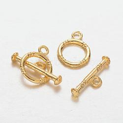 Fermoirs anneau en alliage, or, anneau: 16x12x2 mm, trou: 2 mm; bar: 20x7x2 mm, Trou: 2mm(PALLOY-J154-54G)