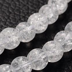 """Chapelets de perles en quartz craquelé synthétique, rond, cristal synthétique, clair, clair, 6mm, trou: 1 mm; environ 68 pcs / brin, 15.5""""(GBA092-6MM)"""
