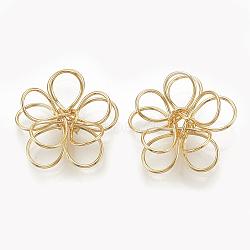 Perles de fil de laiton, fleur, véritable 18k plaqué or, 14.5x15.5x5.5mm(KK-S345-088)