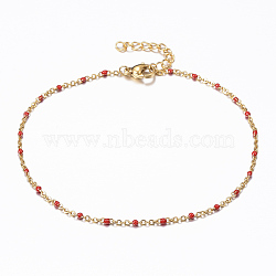 304 Stainless Steel Cable Chain Anklets, with Enamel Links, Golden, Red, 9inches(230mm); 1.5~2mm(X-AJEW-H010-01C)