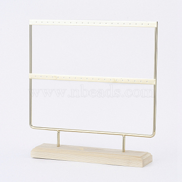 Iron 2-Tier Earring Display Stand, for Hanging Dangle Earring, with Wood Pedestal, Golden, 25.2x25.5x5cm(EDIS-E025-05)