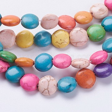 10mm Mixed Color Flat Round Synthetic Turquoise Beads