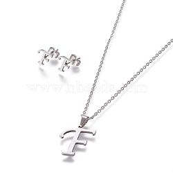 304 ensembles de bijoux en acier inoxydable, boucles d'oreille et colliers, alphabet, couleur inox, letter.f, 17.7 18.1 cm); (45~46 mm; Broche: 7.5~10x3.5~12 mm(X-SJEW-L141-052F)