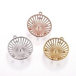 Pendentifs en laiton, avec zircons, pour la moitié de perles percées, demi-rond, clair, couleur mixte, 22x20x5mm, trou: 1.2 mm; broches: 1 mm(KK-L177-10)